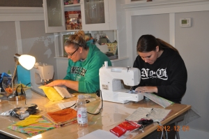 Laura & Amanda Peek sewing Boxie pouches